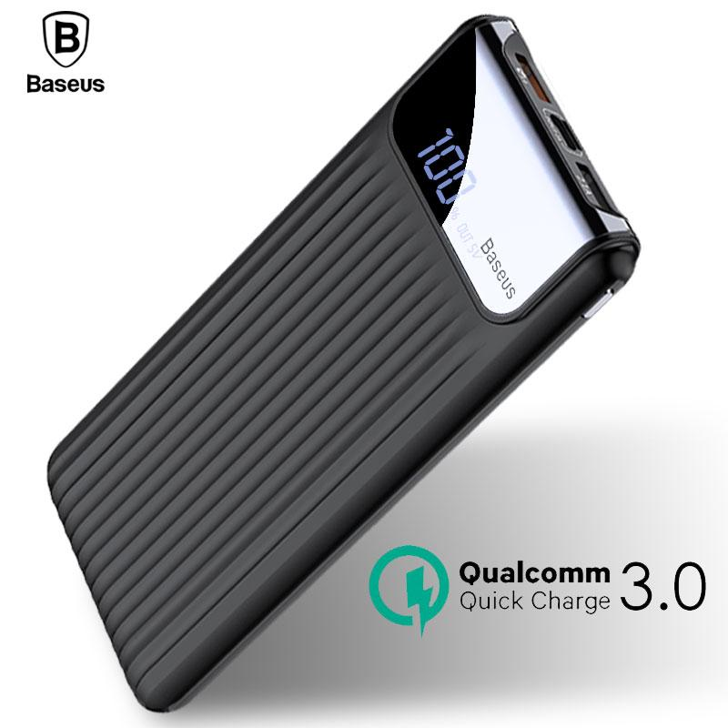 pretty nice 3fbcb 1ac75 Baseus 10000mAh LCD Quick Charge 3.0 Dual USB Power Bank For iPhone X 8 7 6  Samsung S9 S8 Xiaomi Powerbank Battery Charger QC3.0