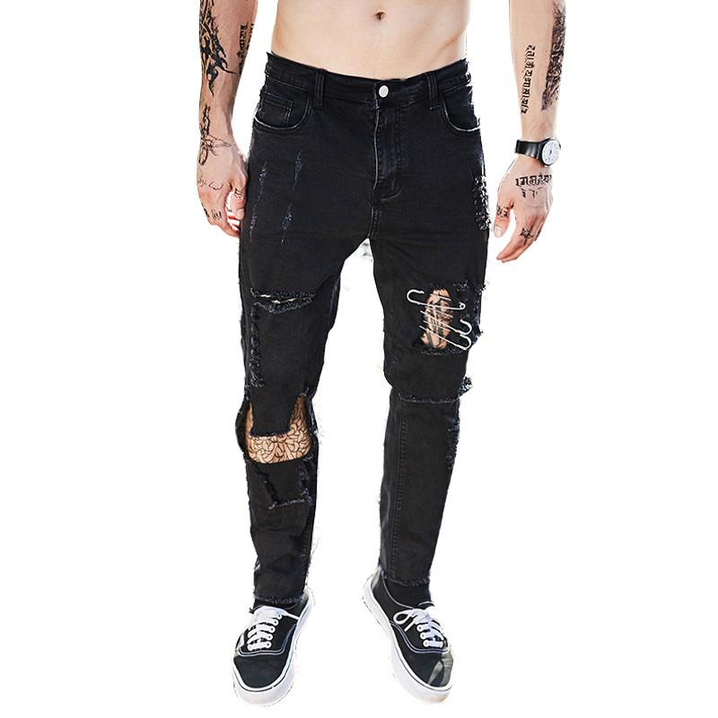 Compre FATOBENERY 2018 New Street Fashion Pop Culture Vaqueros Pitillo De  Hombre Hip Hop Fashion Hole Pantalones Vaqueros De Color Sólido Negro Para  Hombre ... 3b7586d6a48