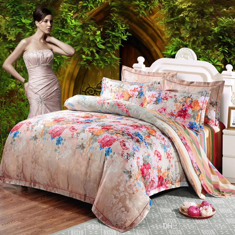 Red Flower jacquard duvet cover sets queen king size Silk/Cotton Satin bed cover Boho bedding bed sheet pillowcase Home Decoration