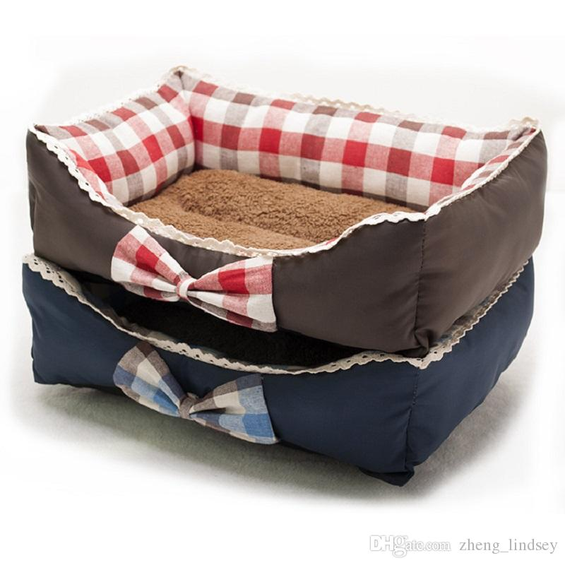 New Arrival House Soft Warm Bow Lace Square Red Blue Grid Cat Dog Bed Cute Kennel Nest Dog Fleece Camas Para Perros