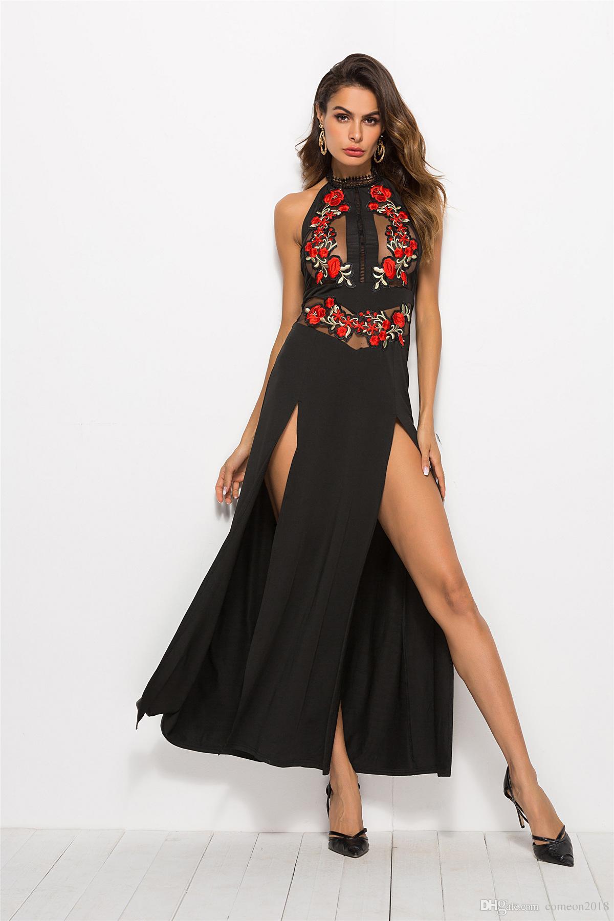 Grosshandel Frauen Sommer Kleider Sexy Durchsichtig Applikationen