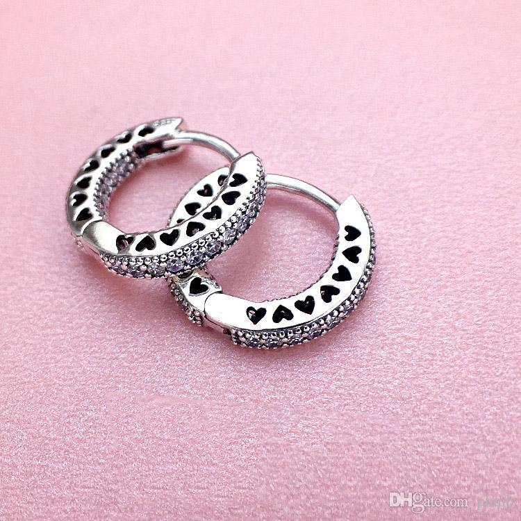 925 en argent sterling CZ diamant boucle d'oreille avec boîte d'origine Fit éternelle Pandora bijoux Rose Gold Stud boucle d'oreille femmes mariage cadeau boucles d'oreilles