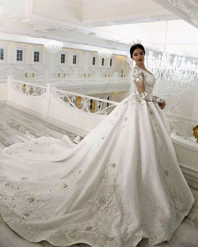 Vestidos de novia vestido de novia vestido de novia vestido de bola de cristal con cuentas de encaje de novia apliques Arabia Saudita Glamorous Dubai princesa de la vendimia