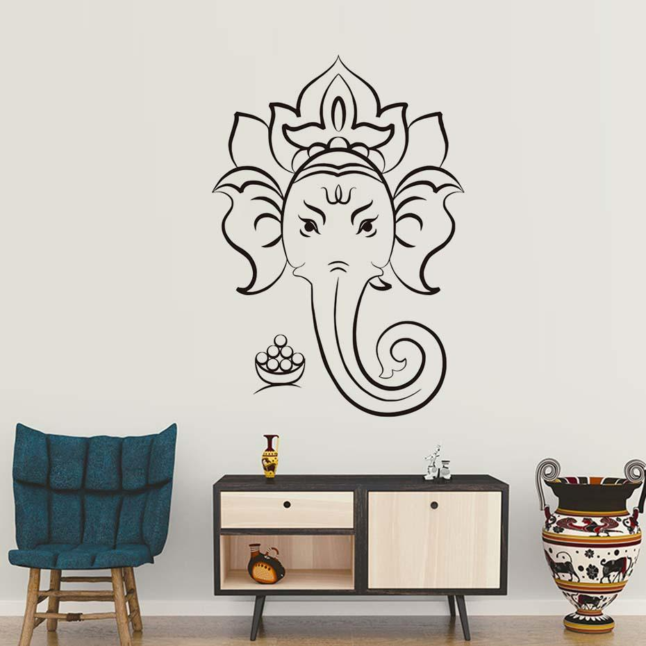 Living Room Home Decoration Wall Decals Wallpaper Sacred Ganesha Hindu God Vinyl Stickers