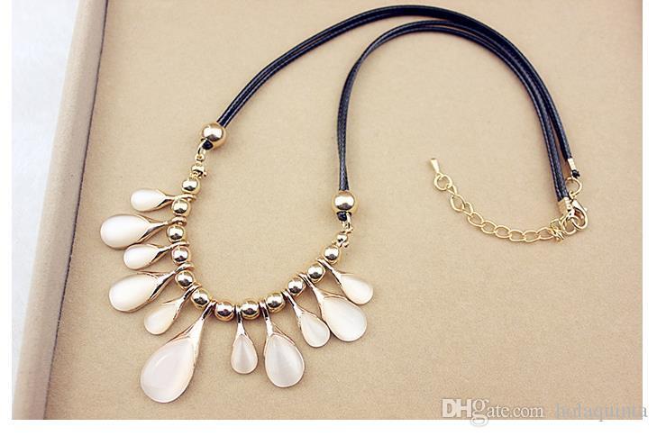 Moda opal kristal damlacıkları aşk çiçekler klavikula zinciri kısa kolye