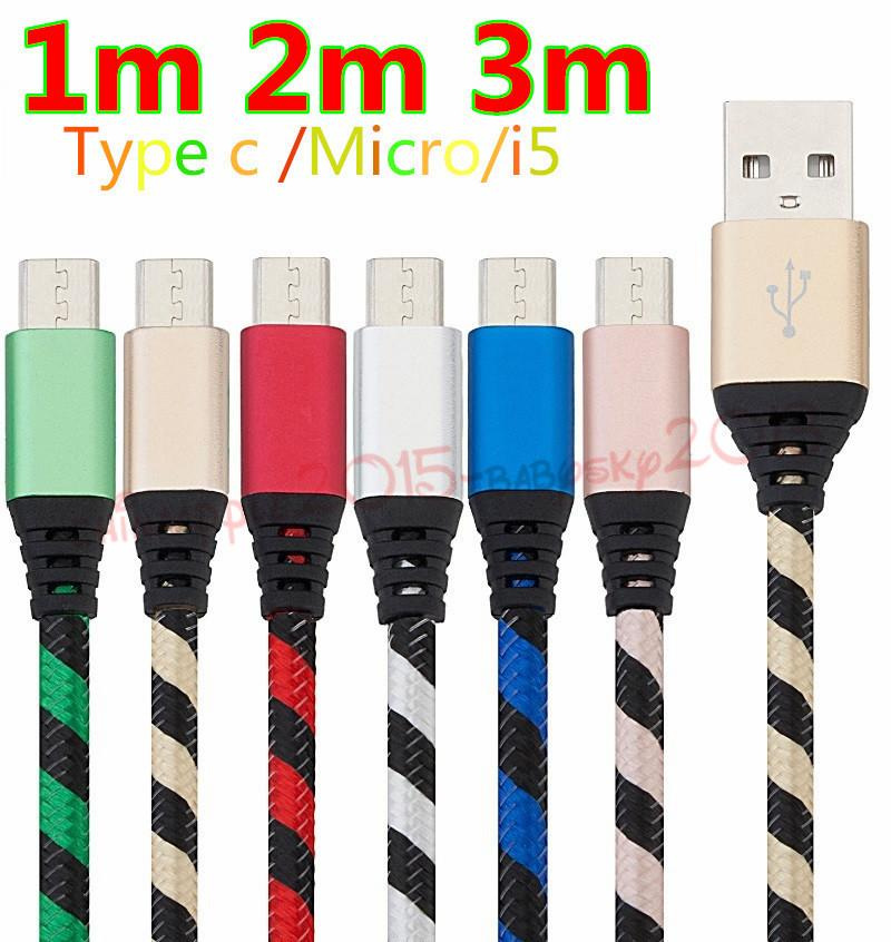 Fabric braided cable 1m 2m 3m nylon Alloy micro 5pin type c quick charging data usb cable for samsung s6 s7 edge s8 htc android phone