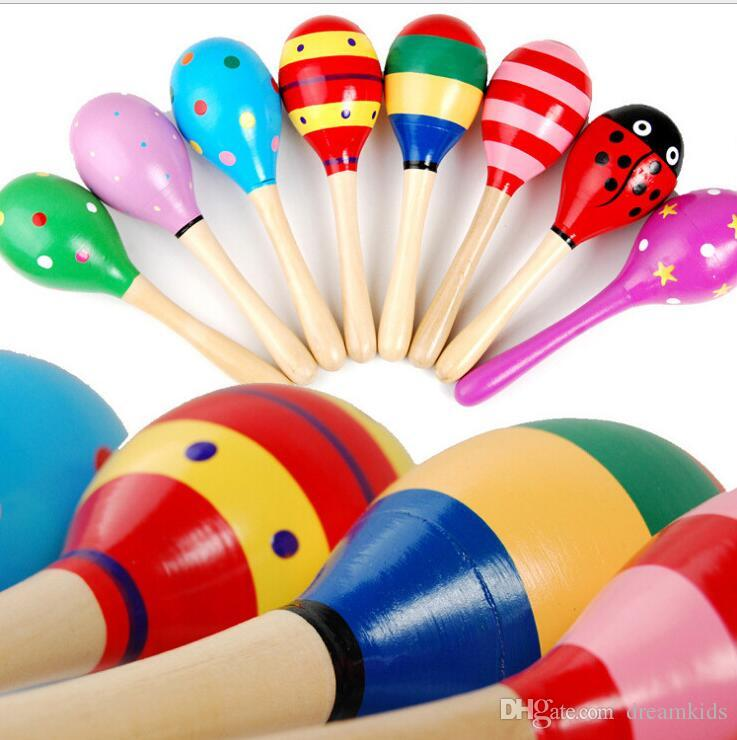 12x3.5cm Baby Wooden Maraca Rattles Sand hammer Kids Musical Party favor Child Baby shaker Toy