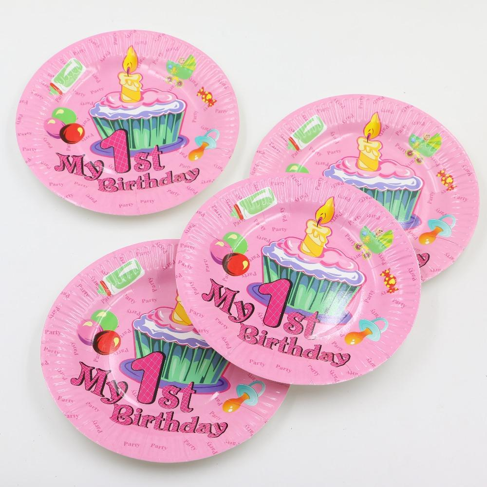 2018 Kids Favors 1 St Birthday Party Paper Plates Decoration Baby