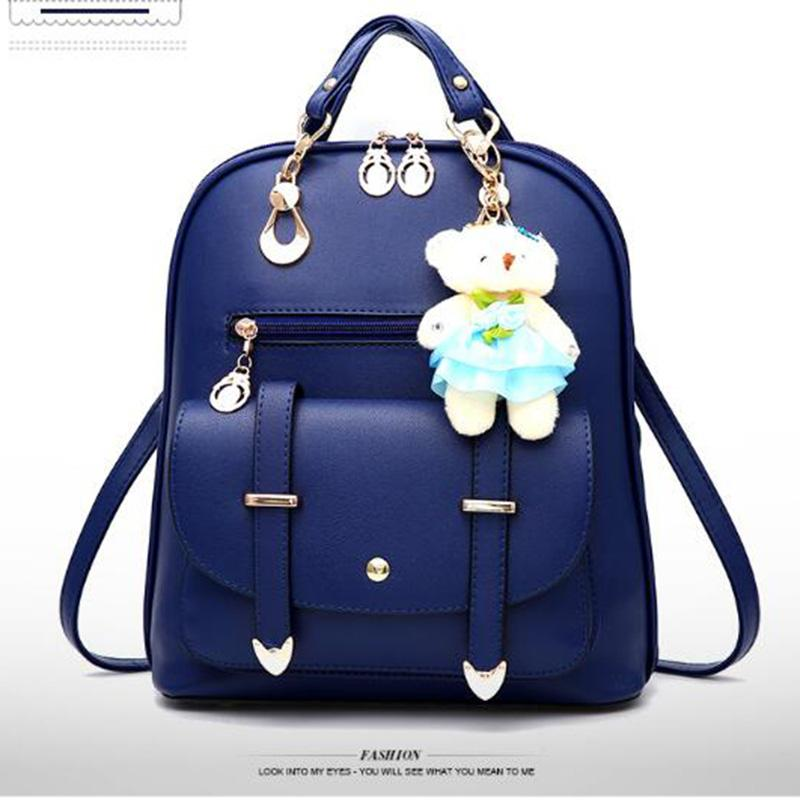 New Women Leather Backpack PU Handbag Shoulder Bag Tide Female Backpack  Students Bags Fashion Casual School Bear Handbags Backpacks College  Backpacks Girl ... 607d3fa038924