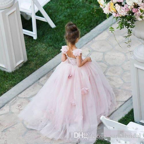 2019 Pink Blush flower girl dress Spaghetti junior junior damigella damigella d'onore kid compleanno prom party pageant dress