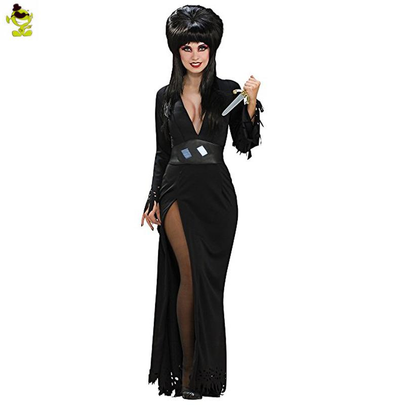 de08431ae0c Women s Gothic Vampire Witch Elvira Costume Black Sexy Halloween Themed  Fancy Dress Outfits Costumes