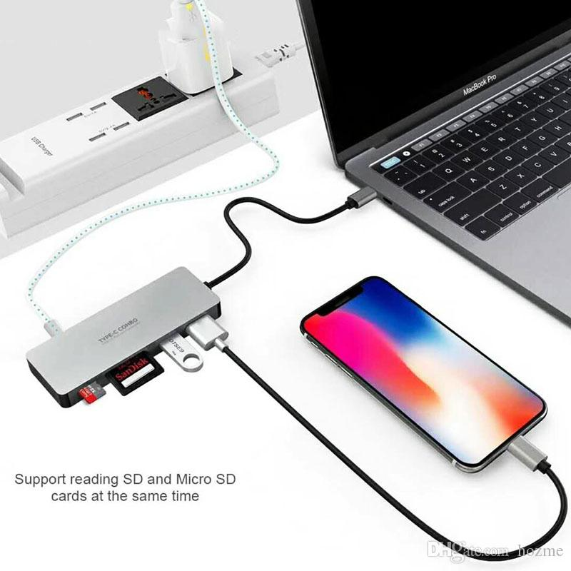 Type C Combo USB HUB 3.0 With Type C Extended Cable SD/Micro-SD Card Reader And Charging Function Support for All Type-C Devices