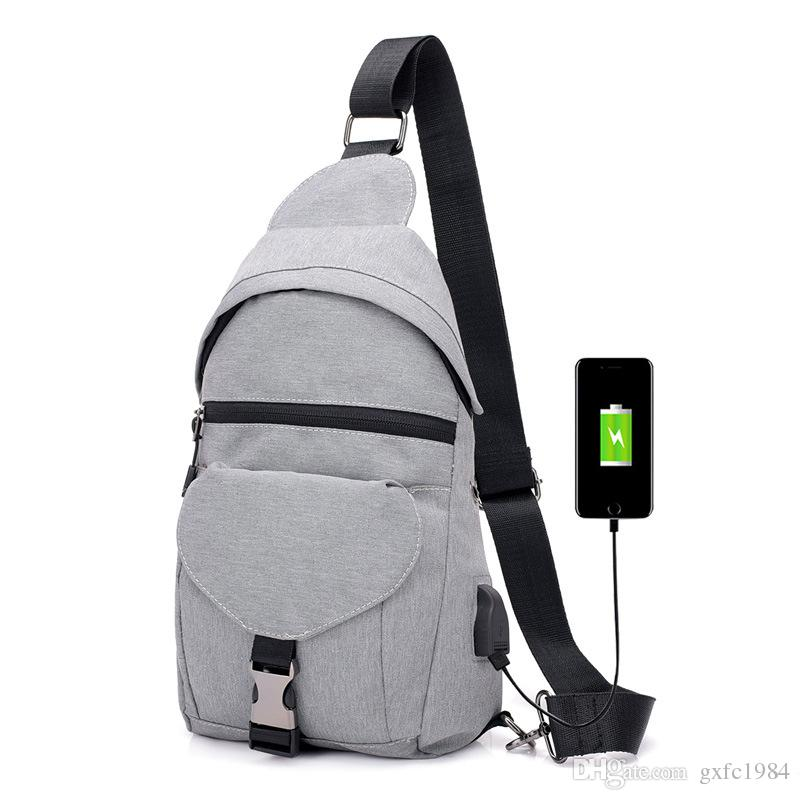 1e0d82aa35 New USB Charging Smart Small Backpack Canvas Polyester Men S Chest Bag  Waterproof Travel Crossbody Chest Bag Rucksack Laptop Bags From Gxfc1984