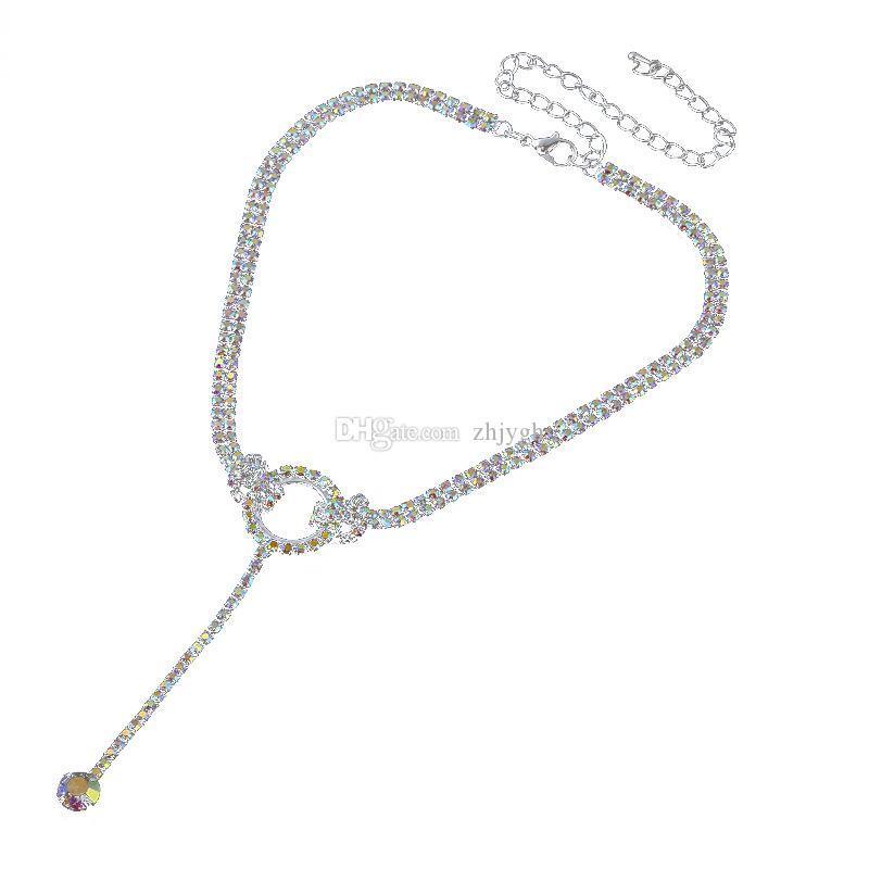 Monili all'ingrosso, monili di zircone del diamante di modo, collana Chain della clavicola, nuova collana completa del diamante, trasporto libero