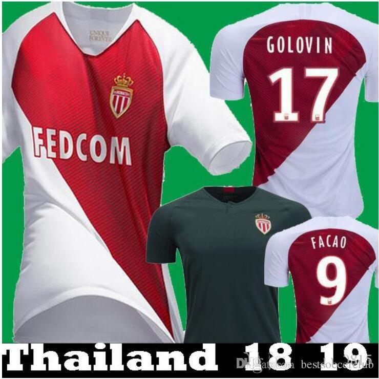 Compre 2018 2019 AS Monaco Jersey Masculino Ligue 1 Futebol 9 FALCAO 10  JOVETIC 17 GOLOVIN 24 RAGGI 1 SUBASIC 18 19 Camisa De Futebol Kits Uniforme  De ... 367dfb63246cc