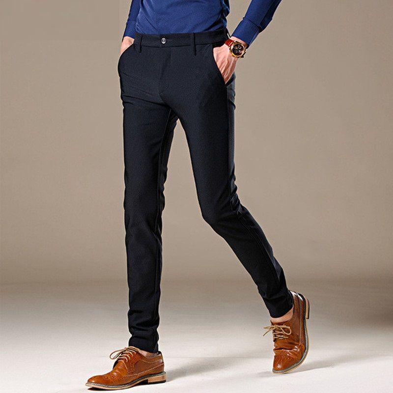 Acquista Pantaloni Casual Da Uomo Business 2018 Nuovi Pantaloni Dritti Pant  Autunno Uomini Di Buona Qualità Slim Fit Nero Pantaloni Elastici Uomini  Alti A ... 603052340b0