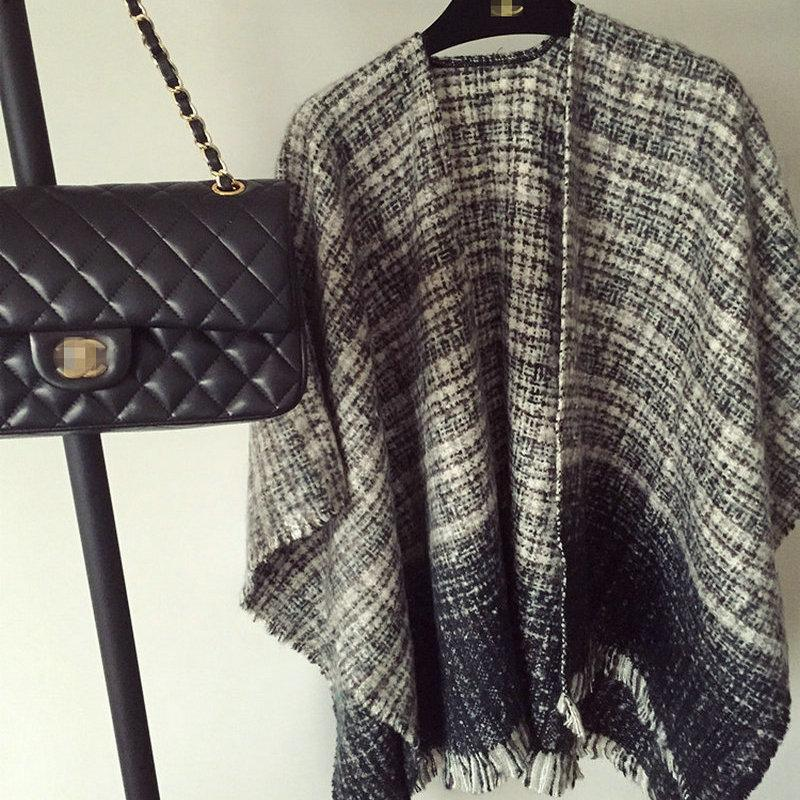 hiver surdimensionné épais cape chaude cachemire laine acrylique plaid châles double face wrap mode vintage poncho YOUNGER STORE YG074