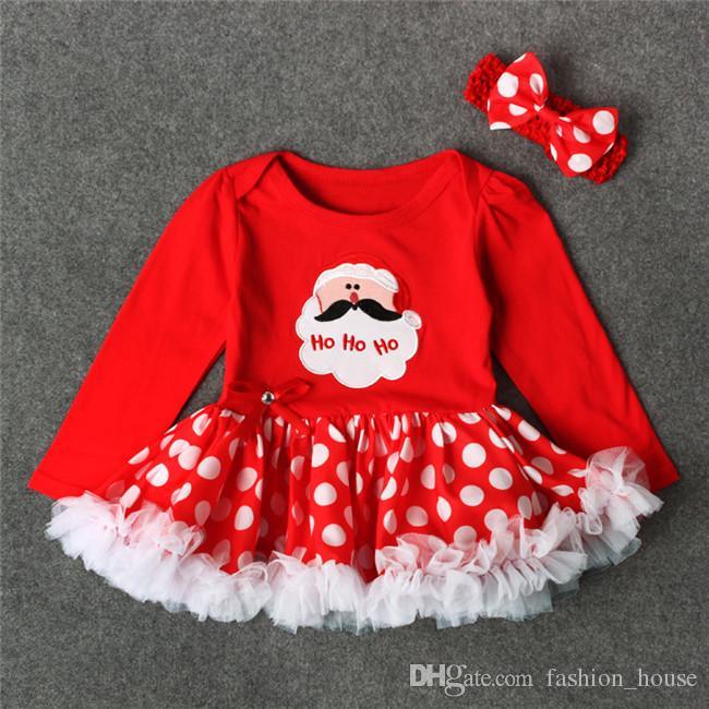 Bébé filles impression de Noël robe rouge 2ps ensembles arc bandeau au crochet + motif de Noël barboteuse nourrissons premiers cadeaux de Noël tenues tenues A08