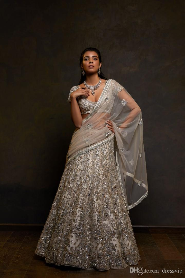 Chic Two Pieces Indian Wedding Dresses With Wrap Silver Lace Appliques Crystal Beaded Bridal Gowns A Line Luxury Floor Length Wedding Dress