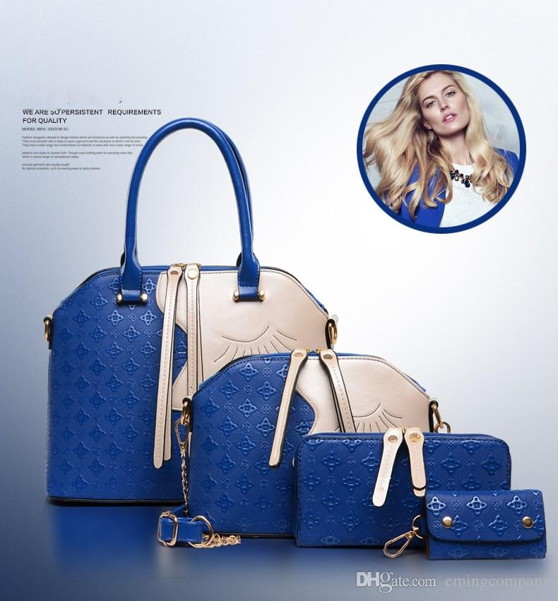 Designer Handtasche 4 STÜCKE Setzt Frauen Tote Schulter Büro Taschen, Schwarz Braun Blau Goldene 4 Farben Für Großhandel