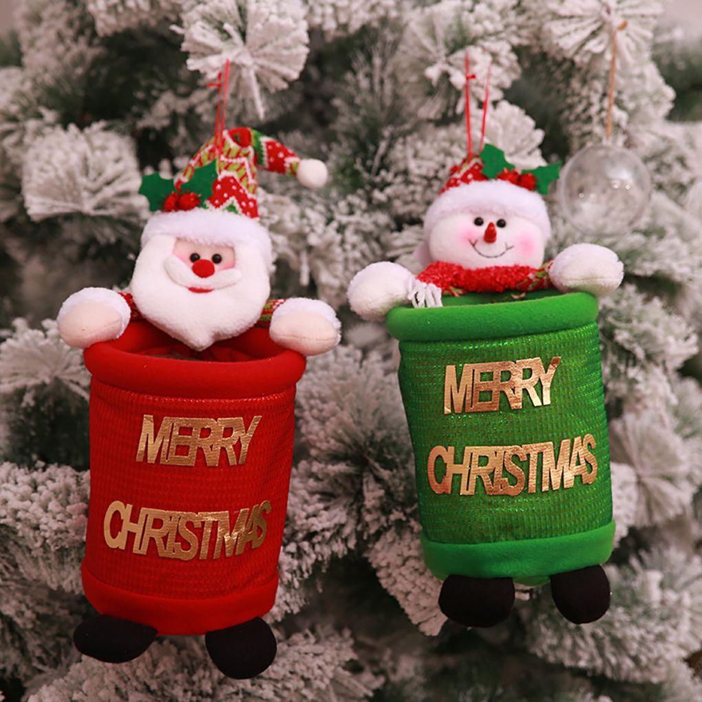 2018 christmas xmas cloth garbage bin car home storage holder santa snowman bathroom trash can waste basket bag home decor christmas home decor for - Christmas Tree Garbage Bag