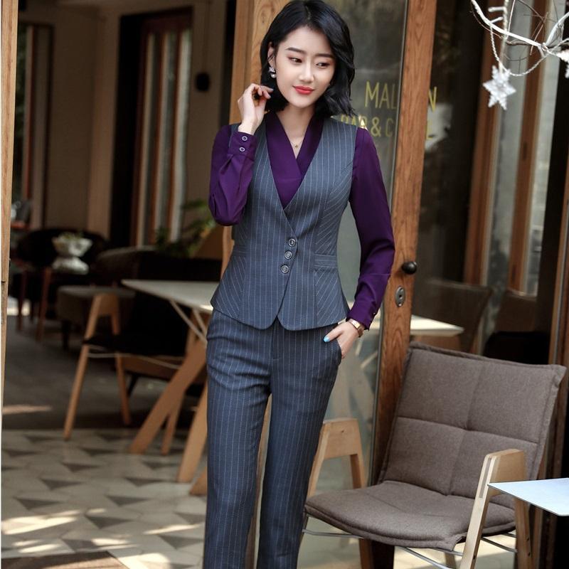 Compre Moda A Rayas Diseños Uniformes De Primavera Verano 2018 Pantsuits  Con Tops Y Pantalones Para Damas Chaleco Abrigo Conjuntos De Chaleco Más  Tamaño A ... f711ac78b892