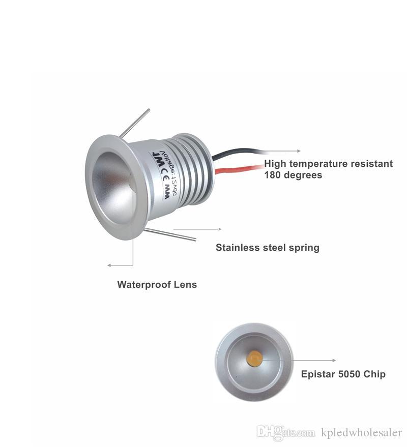 1 Вт мини-встраиваемый кабинет прожектор, светильник Downlight 25 мм вырез 80Ra 100Lm / Вт, 12 в потолочный точечный светильник, Звездные лампы прожекторы 36 шт. / лот