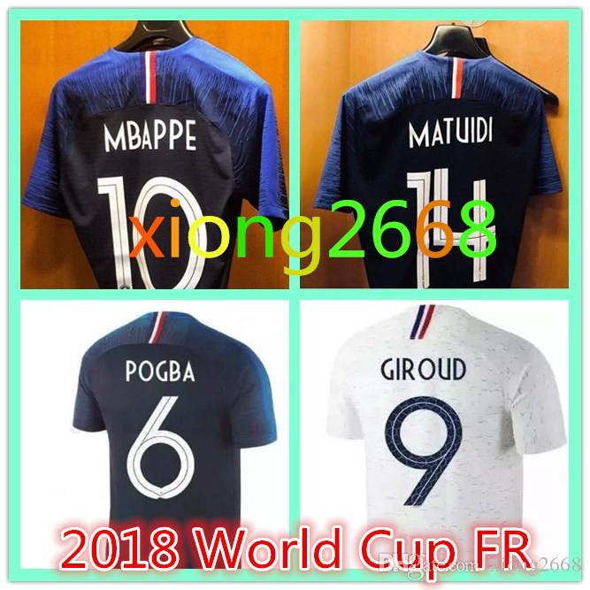 763c465e415 New AAA+2018 World Cup Soccer Jerseys 18-19 POGBA GRIEZMANN PAYET KANTE  MBAPPE Soccer National Team Home Blue Away White Men Football Shirts 2018  World Cup ...