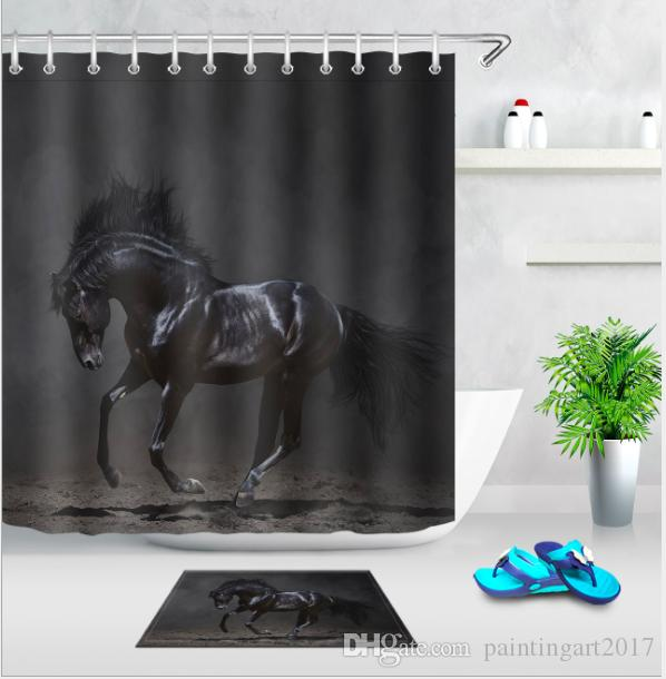 2019 High Quality Arts Shower Curtains Running Horses In Stormy Dark Bathroom Decorative Modern Waterproof Bath Mats Set From Paintingart2017