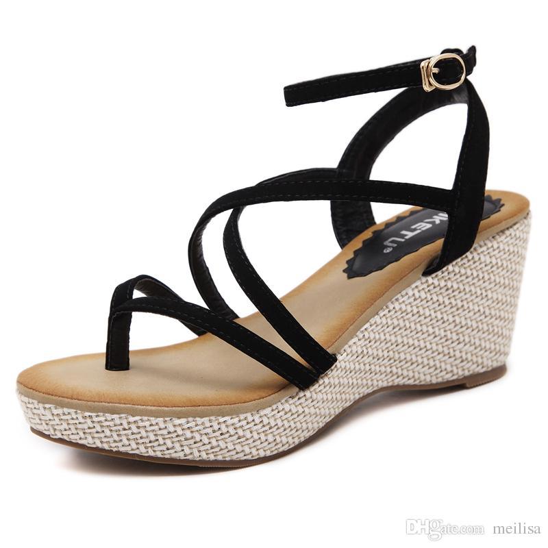 2018 Summer Bohemia Donna High Heel Sandals Fashion Weaving Linen