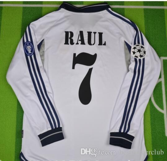 uk availability 22ec3 33f3a 00 01 Real Madrid Retro Soccer Jersey RAUL Football Shirts 2000 2001 FIGO  RONALDO Carlos Vintage Classic Camiseta de Futbol