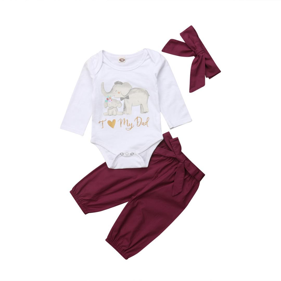 836eecead58a42 2019 Infant Newborn Baby Girl Clothes Cotton Cute Love Dad Mom Bodysuit  Shirt Pants Bow Headband Outfits Sets Toddler 0 18M From Callshe, $36.91 |  DHgate.