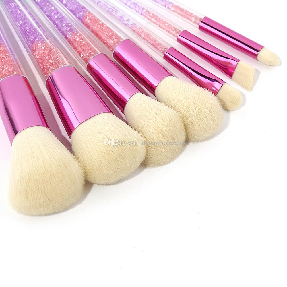 Sıcak 7 ADET Kristal Makyaj Fırça Vakfı Karıştırma Toz Göz Farı Kontur Şeffaf Kolu Güzellik Aracı Set