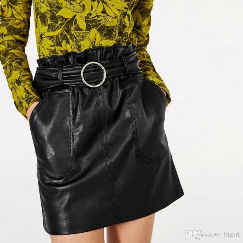 c797d5ffc0a Sexy High Waist PU Leather Skirt Spring Autumn Metal Ring Belt With Pocket  Short Women Skirt Casual Slim Mini All-matched Skirt