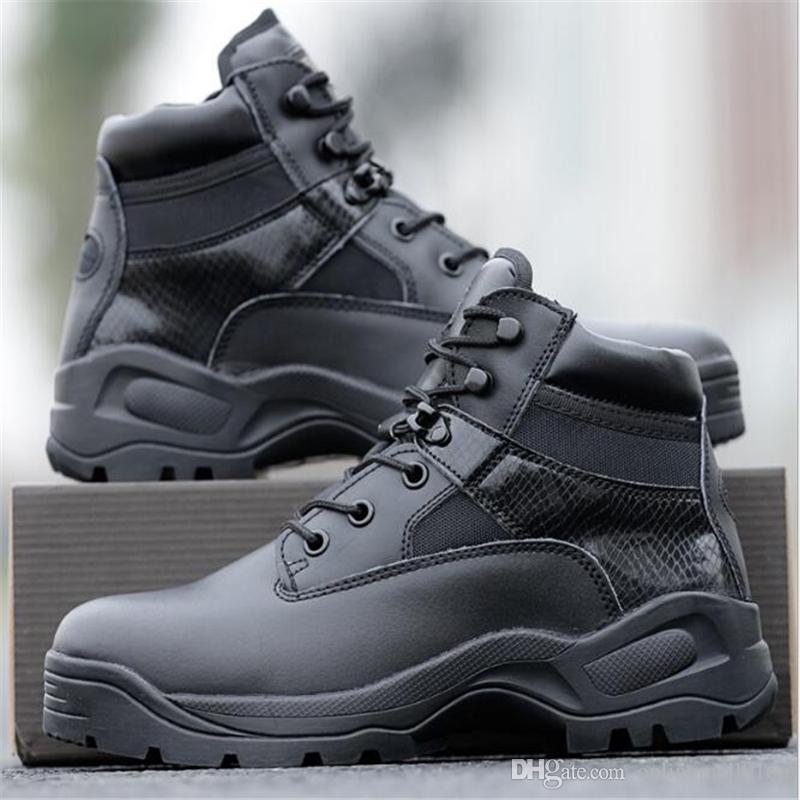 Men delta Army Tactical Boots Leather Low-Zip Waterproof Combat Boots Black Outdoor Shoes for men Climbing Shoes