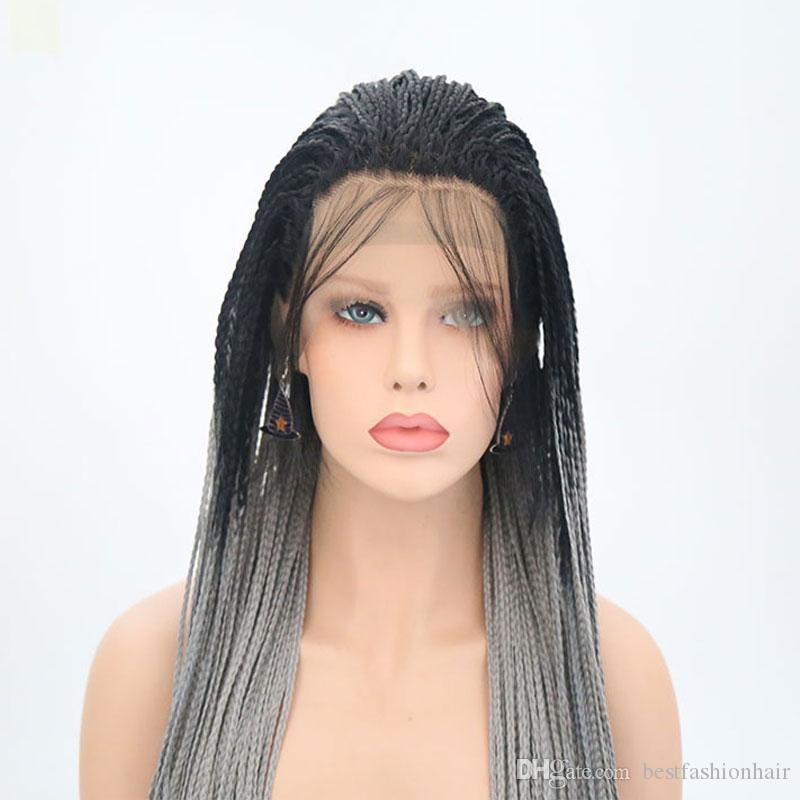 Synthetic Braided Wigs Synthetic Dark Roots Ombre Grey Heat Resistant For Women Glueless Synthetic Lace Front Braid Wig With Baby Hair