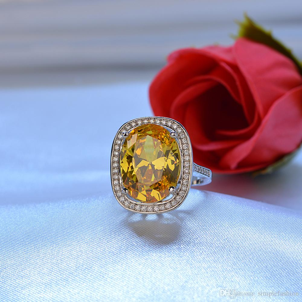Vecalon 2018 Anillo de boda hecho a mano para boda grande para mujer corte ovalado 10ct 5A zircon cz oro blanco lleno de anillos de compromiso femenino