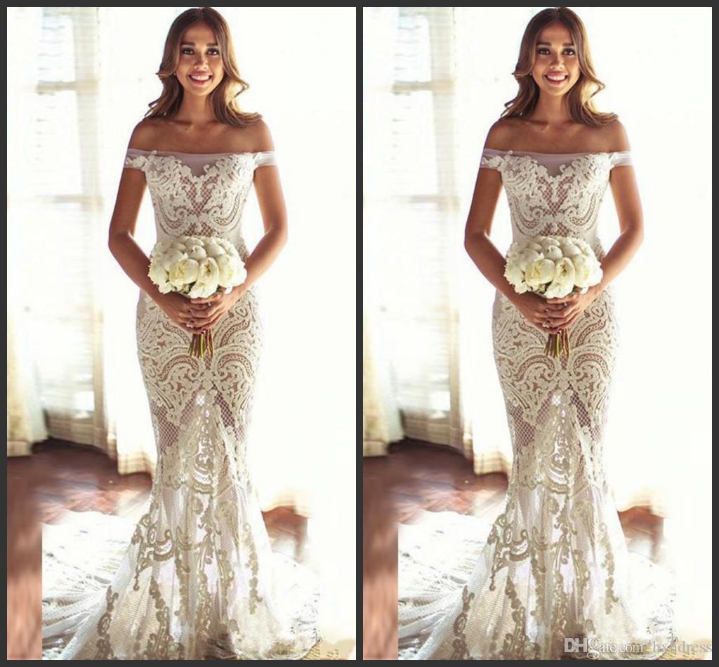 2018 New Custom Made Bridal Mermaid Brautkleid Exquisite Spitze Appliques durchschauen Off Schulter Brautkleider Western Country Styles