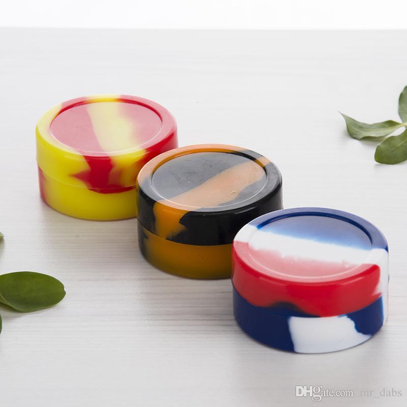 Contenedores de cera antiadherente caja de silicona 22ml contenedor de silicio jarras de grado alimenticio herramienta dab sostenedor de aceite vaporizador Frascos de Silicio Dab Wax Container
