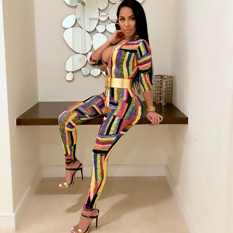 f2e0f0f83d 2019 2018 Summer Sexy Long Women Jumpsuit Romper Lady Short Sleeve Bodysuit  Playsuit Womens Fashion Graffiti Print Onesie Body Femme From Jellwaygood