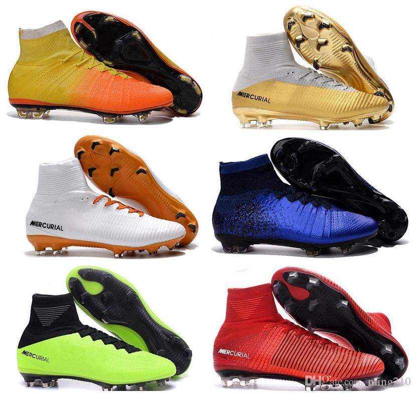 bf0a8feb48f 2019 2018 Mens Mercurial Superfly CR7 V FG AG Football Boots Cristiano  Ronaldo High Tops Neymar JR ACC Soccer Shoes Magista Obra Soccer Cleats  From Ming210