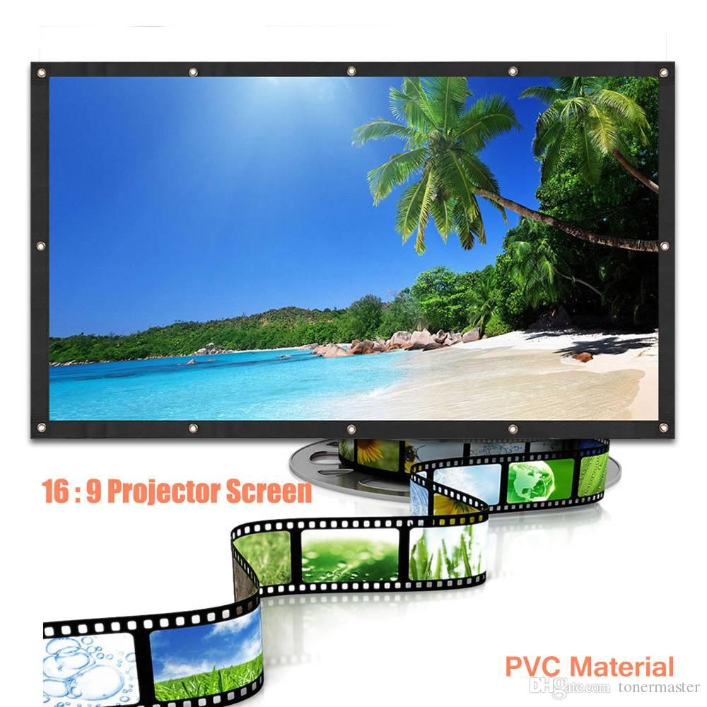100 Inch 16:9 Portable PVC HD Projector Screen Curtains Film Portable Screen , hot sales with good quality