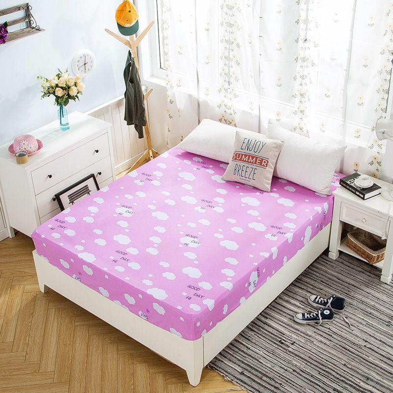 Pink Clouds Pink Cartoon Pattern Fitted Sheet Mattress Cover Bed Sheet  Elastic Band Mattress Protector 2 Sizes Soft Protector Sheet Protector  Mattress ...