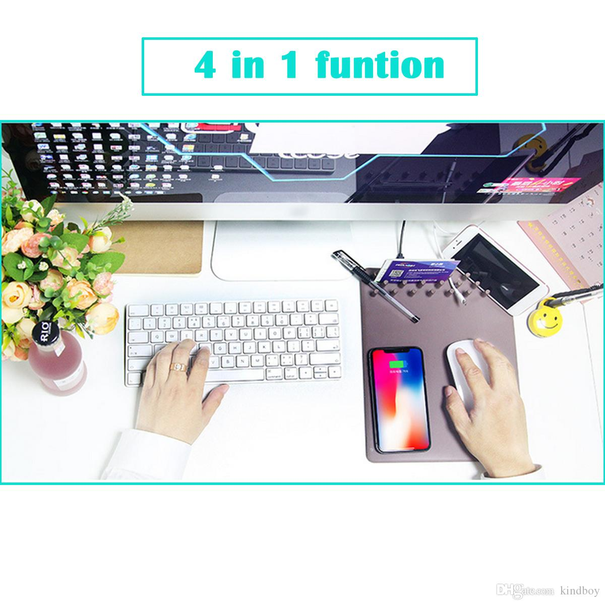 4 in 1 Qi Wireless Charger Charging Holder Mouse Pad Mat Ruler for iPhone X samsung phone New omputer Mouse Pad Mat Table Gaming Mousepad