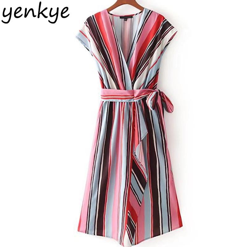 d909e993b67 2019 Summer 2018 Multicolor Striped Dress Women V Neck Short Sleeve With  Belt Casual A Line Midi Dress Fashion Brand Elbise CCWM8575 From Bishops