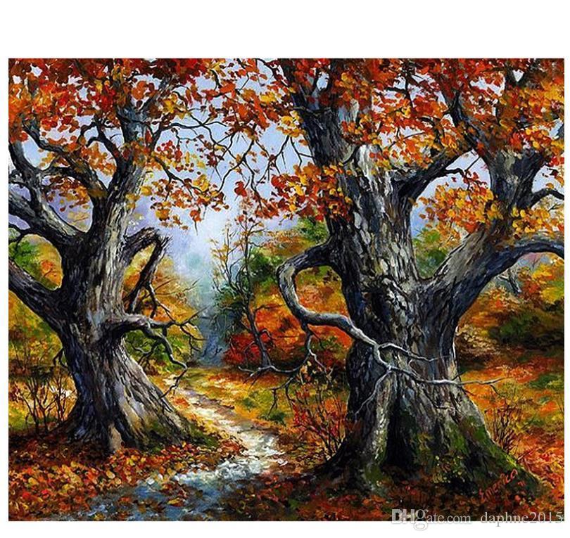 Satın Al Sonbahar Ağacı Elmas Boyama Kiti Tam Matkap 5d Mozaik Duvar