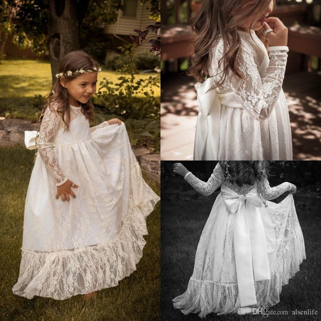 dc5bc60d864b4 Lovely Lace Flower Girls Dresses Long Sleeves Cheap White Floor Length A  Line Ribbon Bows Nicely Sheer Neck Formal Occasion Gowns Baby Flower Girl  Dresses ...