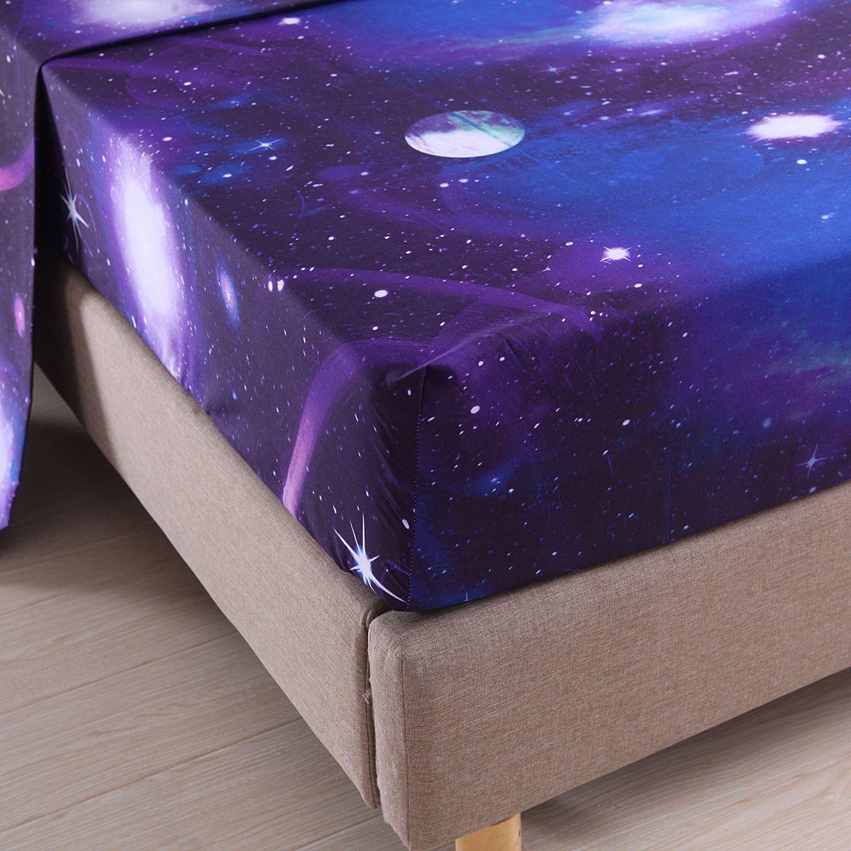 3D Galaxy Starry Sky Sheet Sets /Flat Sheet Fitted Sheet Pillowcase Comfy Bedding Twin/Full/Queen/ King