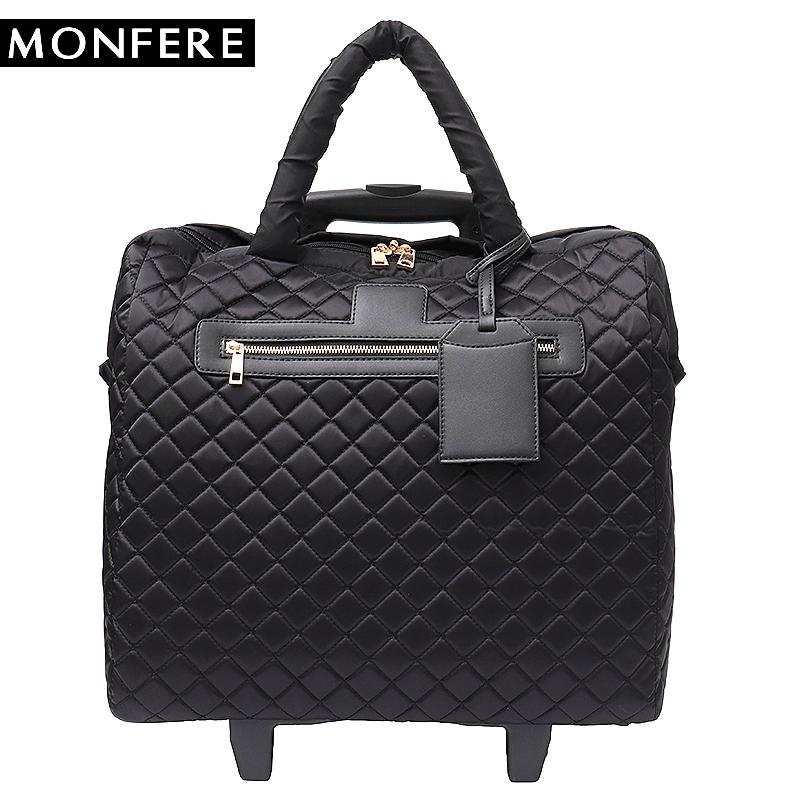 MONFERE Brand Women Plaid Suitcases And Travel Rolling Bags Fiber Fashion  Large Trolley Duffel Bag Travel Wheels Hand Luggage Toddler Suitcase Child  ... c9ab5c1fc