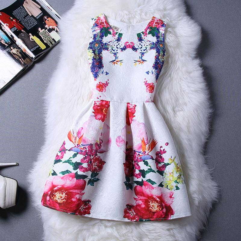 Cartoon Castle Summer Sleeveless Girls Print Dress Knee Length Princess A-Line Dress Clothes For Kids 6 to 12 years Old Kids